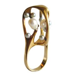 J. Arnold Frew Pearl Gold Ring | From a unique collection of vintage cocktail rings at https://www.1stdibs.com/jewelry/rings/cocktail-rings/