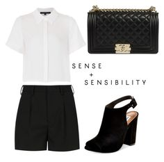 """"""""""" by sasou-metayer ❤ liked on Polyvore featuring Yves Saint Laurent, French Connection, Steve Madden, Chanel and pleatedskirts"""