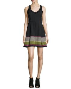 Sleeveless V-Neck Embroidered Party Dress  by Trina Turk at Neiman Marcus.