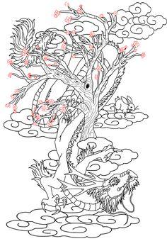 Cherry Blossom Dragon Art | Tattoo design -Chinese dragon and Hare- by KitiHarumi