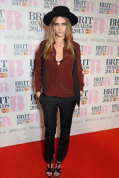 Celebrities at the BRIT Awards 2015 | Pictures | POPSUGAR Fashion UK.  Cara Delevingne
