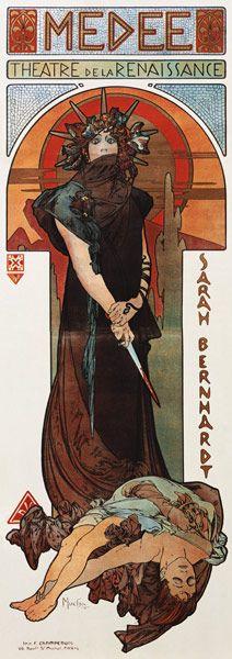Médée, Plakat für Sarah Bernhardt und das Théatre de la Renaissance