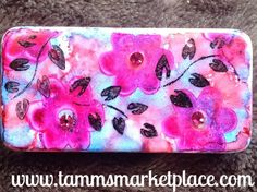 Flower & Leaf Sprig Stamped & Jeweled Domino Pin with alcohol ink background – Tamm's Marketplace