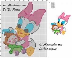 baby Daisy Duck combing her doll cross stitch pattern