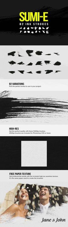 82 Sumi-E Ink Strokes. Photoshop Brushes. $5.00