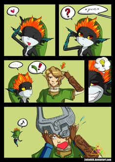 The Legend of Zelda: Twilight Princess, Link and Midna / Twilight Princess: Exchange by Zelbunnii on deviantART