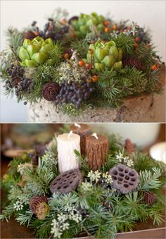 Artichoke or log candles tucked into wreaths of evergreen
