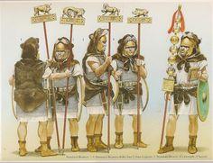 Roman standard bearers, 2nd century B.C. - art by ANGUS McBRIDE