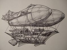 This illustration presents another desired element in my adventure/fantasy concept and provides a great example in terms of design and graphic style. Steampunk Ship, Steampunk Drawing, Steampunk Kunst, Steampunk City, Zeppelin, Fantasy World, Fantasy Art, Steampunk Illustration, Flying Ship