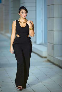Black one piece from Rachel Roy #fashion #blackoutfit #style #rachelroy www.stilettostory.com