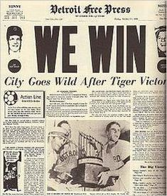1968 Detroit Tigers world champs! My Dad loved the Detroit Tigers and I remember him being so happy that he cried. Very special memory for me. He was such a fan till the day he died at the age of 91 yrs. Detroit Sports, Detroit Tigers Baseball, Metro Detroit, Sports Teams, State Of Michigan, Detroit Michigan, Detroit Area, Tigers Live, Tiger World