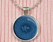 Monogrammed, Glass Letter Pendant, Custom Letters, Monogram Necklace - Polka Dots, Navy Blue Necklace, Spotted Jewelry, Light Blue