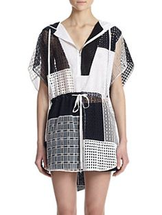 3.1 Phillip Lim - Hooded Cotton Eyelet Patchwork Tunic