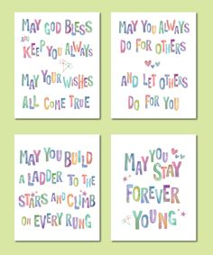 Bob Dylan May You Stay Forever Young/ Set of 4 Prints Watercolor/ Forever Young Nursery/ Retro Wall Art/  -  8x10, 11x14, and 12x16 by DesignCreatives on Etsy https://www.etsy.com/listing/268683414/bob-dylan-may-you-stay-forever-young-set