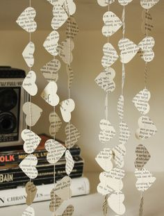 Book Page Hearts Wedding Garland Eco Friendly by smileywileys, $6.00 #weddingdecoration