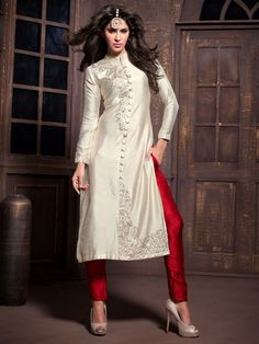 Pearl with Red color  Anarkali Suit with Trouser 2003MK