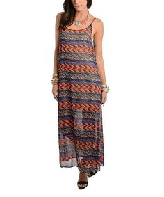 Love this Coral & Navy Zigzag Scoop Neck Maxi Dress on #zulily! #zulilyfinds
