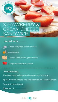 Strawberry and cream cheese sandwich - a yummy lunch or snack for kids ...
