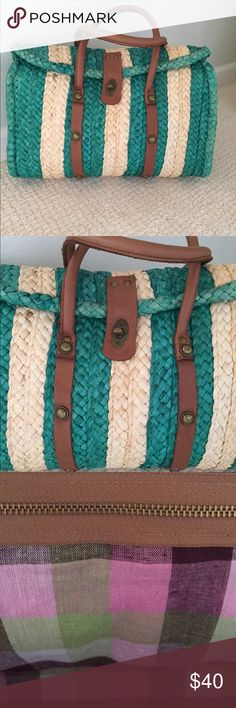 Anthropologie Rattan Handbag Anthropologie handbag by designer Pilcro and the Letterpress. Buckle closure with adorable plaid cotton lining. One inside zipper compartment with two interior pockets. Rattan is in a tan and island green. Brand new/never worn. Anthropologie Bags