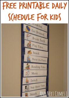 Printable Daily Visual Schedule Free printable daily schedule for kids from And Next Comes L. Parent made materials to use at home.Free printable daily schedule for kids from And Next Comes L. Parent made materials to use at home. Daily Schedule Preschool, Daily Schedule Printable, Schedule Cards, Toddler Schedule, Toddler Routine, Summer Schedule, Schedule Templates, Weekly Schedule, Class Schedule