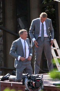 Daniel Craig and stunt double