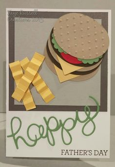 Ovals and folded paper can easily create a hamburger and fries for dad! Swiss dots make perfect sesame seeds on this handmade father's day card.