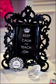 """My """"Keep Calm and Teach On"""" print with a rockin' gorgeous black frame.  Notice the glitzy lamp and pink peonies?  Can you say L.O.V.E?!?!  Make your desk your favorite spot in the classroom!"""