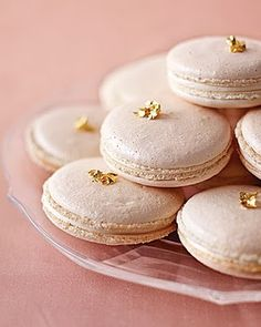 Macaroons topped with edible gold