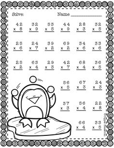 Need extra practice with multiplication? This set is a sample from my winter version of by multiplication with regrouping practice. An answer key for each page is included. Two Digit Multiplication, Multiplication Worksheets, Free Math Worksheets, Math Activities, Teaching Resources, Math Sheets, Material Didático, 4th Grade Math, Elementary Math