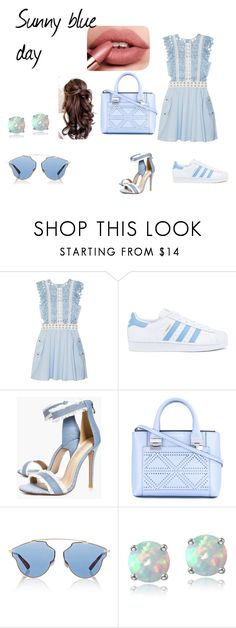 """""""sunny blue day"""" by mathildepl07 on Polyvore featuring mode, self-portrait, adidas, Boohoo, Emporio Armani, Christian Dior et Glitzy Rocks"""