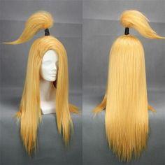 High Quality Deidara 60cm Golden Yellow Straight Heat Resistent Synthetic Hair Wig Cosplay Wigs + Headband Headwear