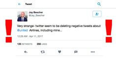 Twitter allegedly deleting negative tweets about United Airl