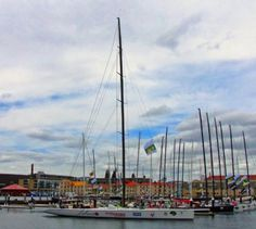 Constitution Dock is filled with super-maxi yachts at the finish of the Sydney to Hobart race.