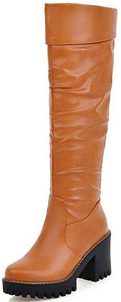 77362a04b58ca Summerwhisper Women s Trendy Plain Round Toe High Block Heel Platform Knee  High Biker Boots   Hope