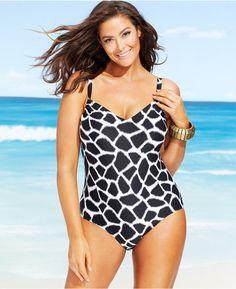 8d2bc9e582b MICHAEL Michael Kors Plus V-Neck Graphic-Print One-Piece - Swimwear - Plus  Sizes - Macy's