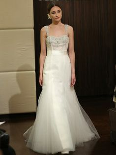 Trend 9: Sparkly straps It's your day to sparkle, so why shouldn't your wedding dress embody that idea? We love the way designers focused on adding sparkly crystals and beaded sequins to straps this season. Gown: Badgley Mischka