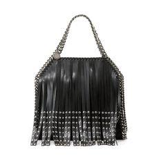 The Ultimate Guide to Fall's Hottest Handbag Trends  Stella McCartney Falabella Mini Studded Fringe Tote Bag, Black ($1,410)
