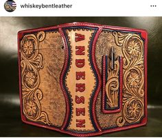 Custom tooled leather padfolio with external pen holder in red and natural leather colors with black accents Leather Carving, Leather Art, Leather Gifts, Leather Books, Custom Leather, Tooled Leather, Leather Tooling, Handmade Leather, Leather Bible Cover