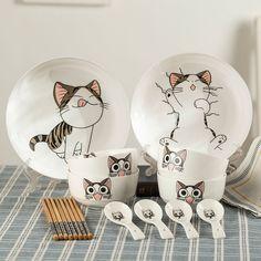Cute cartoob cat bowl/chopsticks/spoon set