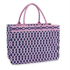 Daytripper Tote Navy/Orchid Lattice | Fashion | Mud Pie