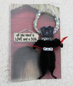 Black Pug Personalized Chenille Ornament for Dog Lover