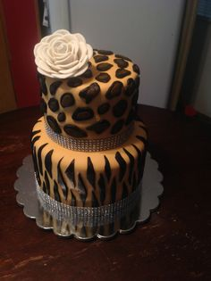 Zebra and cheetah print cake