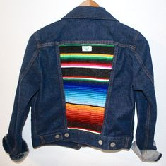 Upcycled denim jacket with Mexican Blanket back panel Levi Denim Jacket, Upcycle, Reuse, Bird Design, Jackets, Mexican, Blanket, Collection, Vintage