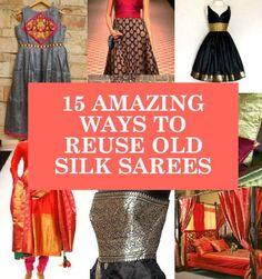 reuse old silk sarees, ideas to recycle old sarees, what to do with old silk kajeevaram sarees beautiful clothes Saris, Silk Sarees, Sari Silk, Indian Attire, Indian Wear, Indian Style, Indian Dresses, Indian Outfits, Indian Clothes