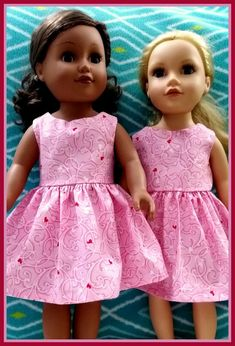 Pink & Red Heart Dress for 18 Doll AG Doll Doll