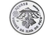 Moeda de coleção comemorativa Paisagem da Cultura da Vinha da Ilha do Pico em prata proof