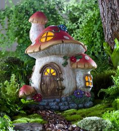 Solar Miniature Fairy Garden Mushroom Cottage with windows that glow at night when the fairies are home