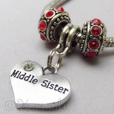 Middle Sister European Birthstone Pendant - Large Hole Charm Bracelets