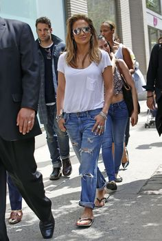 In boy jeans and white tshirt ( simple but beautiful)