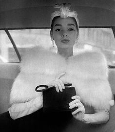 Jacky Mazel wears a white fox capelet by Weill, & a hat by Gilbert Orcel, 1956   Flickr - Photo Sharing!